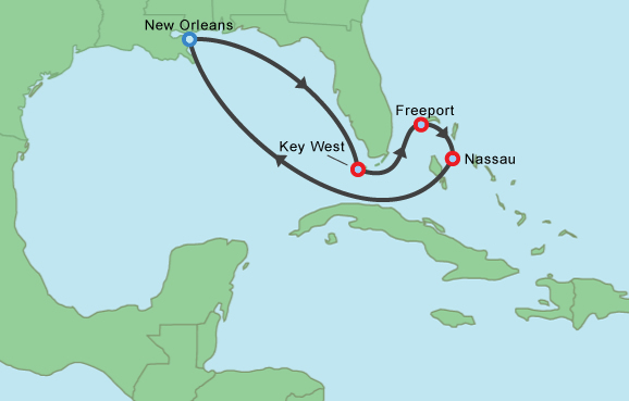 Carnival Cruise Lines Carnival Glory Map