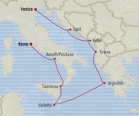 Oceania Cruises Nautica Map